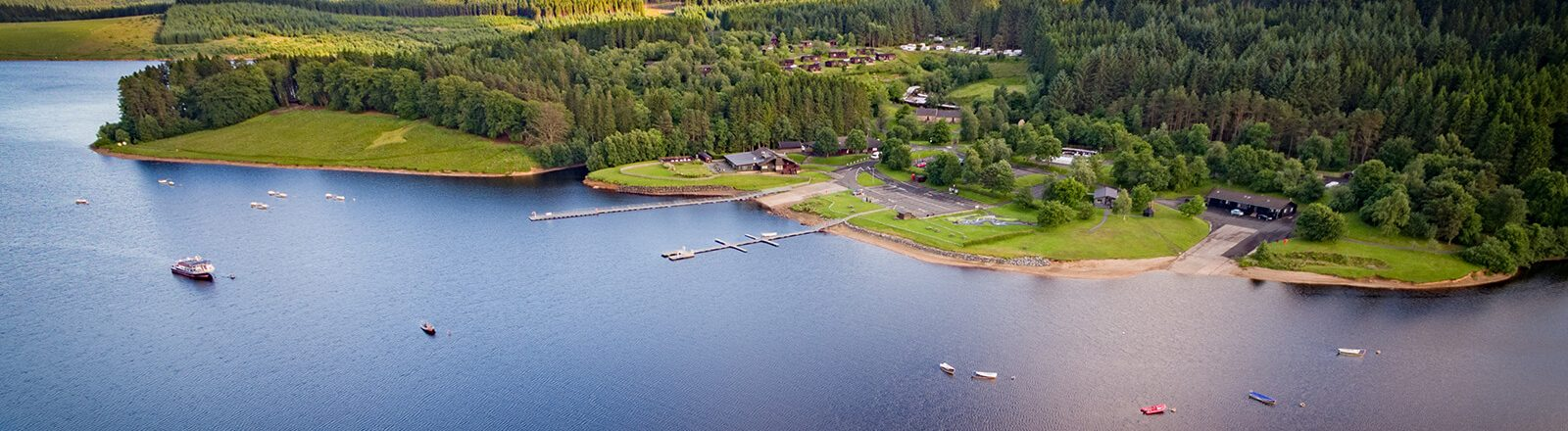 Aerial view of Kielder Waterside
