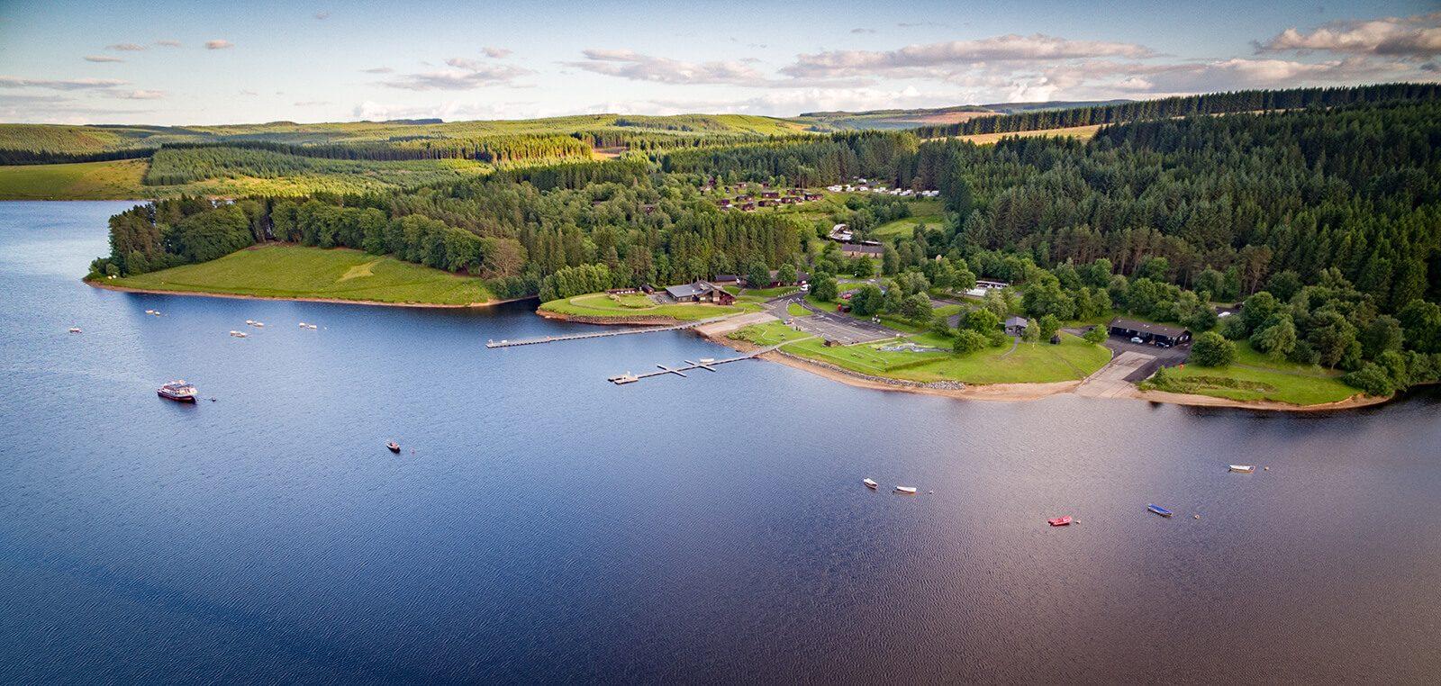 Aerial view of Kielder Waterside
