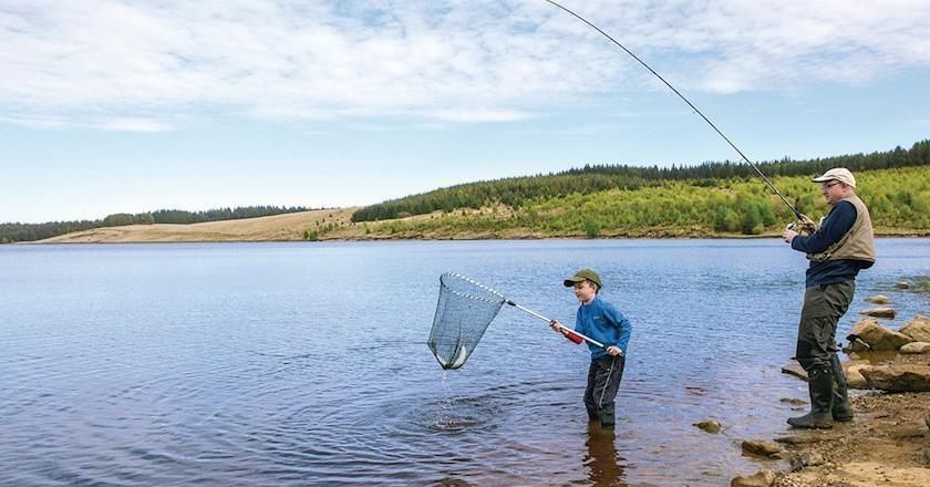 Family fishing at Kielder Water