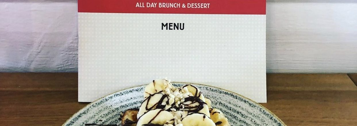 Wafflemeister menu with banana & chocolate waffle